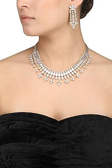 Silver Diamond Necklace Set by Auraa Trends
