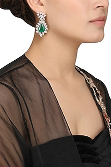 Silver Finish Green Semi Precious Stone Embellished Earrings by Auraa Trends