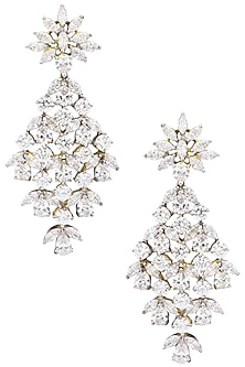 Silver Finish Diamond Danglers by Auraa Trends