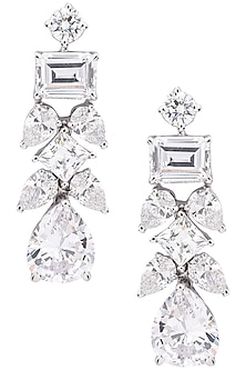 Silver Finish Small Dangler Earrings by Auraa Trends