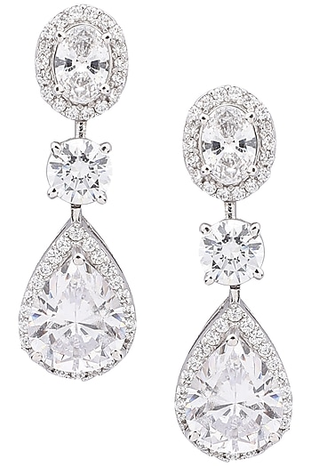 Silver Diamond Earrings by Auraa Trends