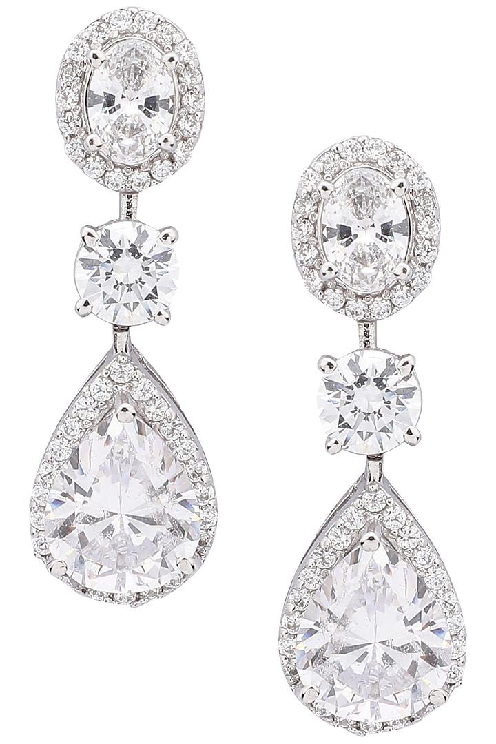 Silver Diamond Earrings by Auraa Trends Silver Jewellery