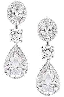 Silver Diamond Earrings by Auraa Trends