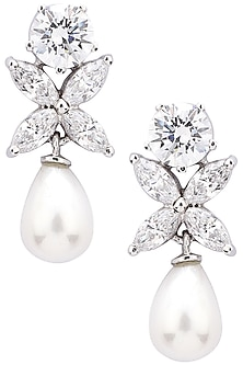 Silver Finish Pearl Embellished Earrings by Auraa Trends