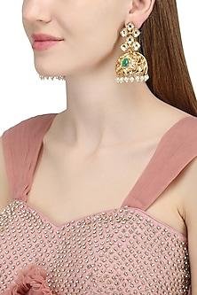 Gold Plated Kundan Jhumka Earrings by Auraa Trends