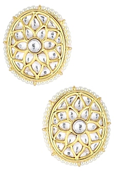Gold Plated Kundan Round Stud Earrings by Auraa Trends