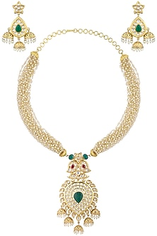 Gold Plated Kundan Necklace Set by Auraa Trends-JEWELLERY ON DISCOUNT