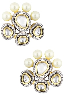 Gold Plated Kundan and Pearl Stud Earrings by Auraa Trends