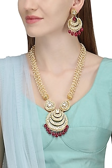 Gold Plated Kundan and Pearl Drop Necklace Set by Auraa Trends