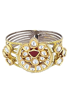 Gold Plated Kundan Bracelet by Auraa Trends