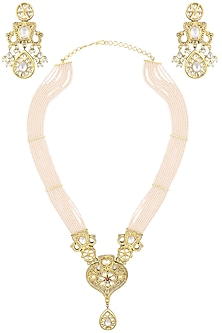 Gold Plated Kundan Pearl Necklace Set by Auraa Trends