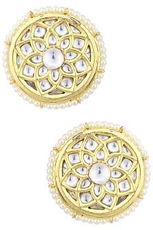 Gold Plated Kundan Stud Earrings by Auraa Trends