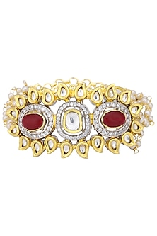 Gold Plated Kundan and Pearl Bracelet with Red Embellishment by Auraa Trends