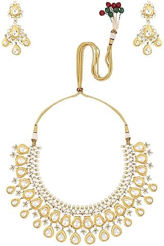 Gold finish big kundan stone teardrop motifs necklace by Auraa Trends