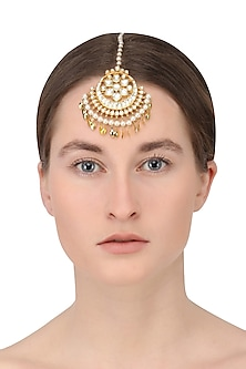 Gold finish Kundan and Green stone crescent Maangtika by Auraa Trends