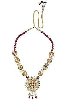 Gold Finish Kundan and Semi Precious Stone Necklace by Auraa Trends