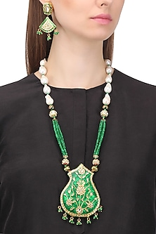 Gold Plated Kundan and Green Enamel Necklace Set by Auraa Trends