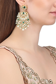 Gold Plated Kundan and Pearl Chandbali Earrings by Auraa Trends