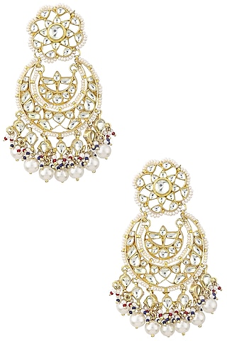 Gold Finish Kundan Crescent Shaped Earrings by Auraa Trends