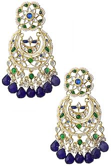 Gold Finish Kundan and Blue Semi Precious Stone Earrings by Auraa Trends