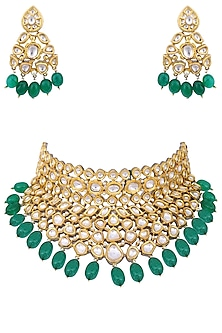 Gold plated kundan and green beads choker necklace set by AURAA TRENDS