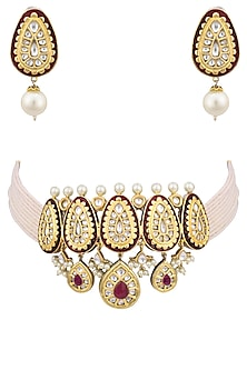 Gold plated kundan, red stones and pearls choker necklace set by AURAA TRENDS