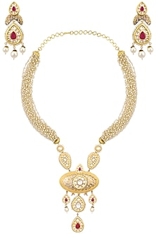 Gold plated kundan and red stone long necklace set by AURAA TRENDS