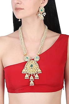 Gold plated kundan and green stone long necklace set by AURAA TRENDS