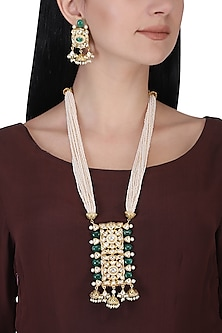 Gold plated kundan, green beads and pearl long necklace set by AURAA TRENDS