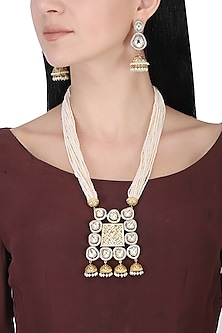 Gold plated white kundan and pearls long necklace set by AURAA TRENDS