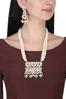 Gold plated kundan, green beads and pearl long floral necklace set by AURAA TRENDS
