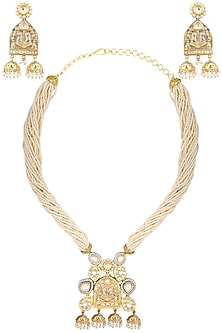 Gold plated kundan and pearl bead long necklace set by AURAA TRENDS