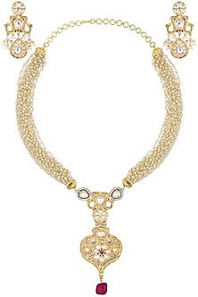 Gold plated kundan and red bead drop long necklace set by AURAA TRENDS