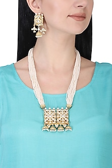 Gold plated kundan and pearl long necklace set by AURAA TRENDS
