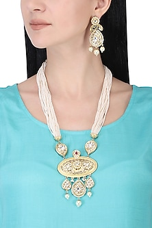 Gold plated white kundan and pearl drop long necklace set by AURAA TRENDS