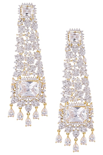 Gold plated diamond dangler earrings by Auraa Trends
