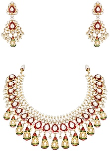 Gold plated kundan and red meena necklace set by Auraa Trends-Shop By Style