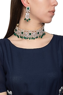 Gold plated diamond and green stone necklace set by Auraa Trends