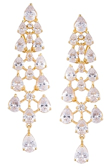 Gold plated diamond long dangler earrings by Auraa Trends