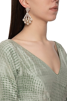 Gold plated diamond floral long earrings by Auraa Trends