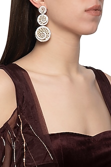 Gold plated diamond circular tiered earrings by Auraa Trends
