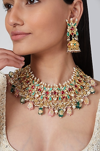 Gold Plated Green & Red Stones Kundan Necklace Set by Auraa Trends