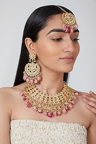 Gold Plated Kundan & Pink Stones Necklace Set by Auraa Trends
