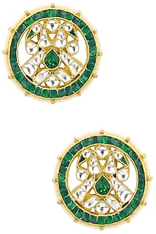 Gold Plated White and Green Kundan Stone Stud Earrings by Auraa Trends