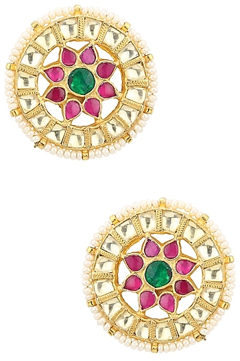 Gold Plated White, Pink and Green Kundan Stone Stud Earrings by Auraa Trends