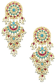Gold Plated Multi-Coloured Kundan Stones and Pearl Dangler Earrings by Auraa Trends