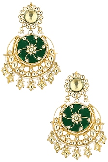 Gold Plated Kundan Stones, Green Enamel and Pearl Earrings by Auraa Trends