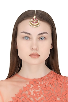 Gold Plated White and Pink Kundan Stones and Pearl Maangtika by Auraa Trends