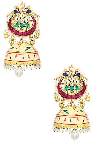 Gold Finish Kundan Studded Chandbali Earrings by Auraa Trends