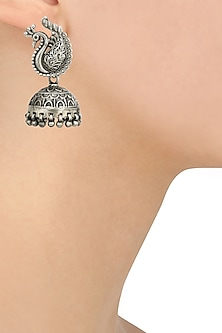Antique Silver Finish Peacock Textured Jhumki Earrings by Auraa Trends
